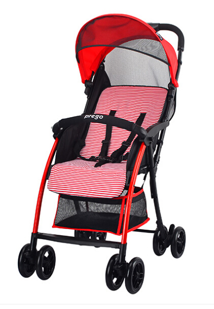 Feather superlightweight with front wheels suspension, Convenient one-hand folding baby stroller