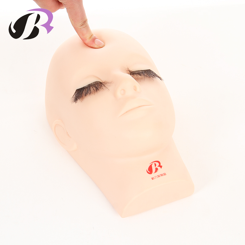 Closed Eyes Mannequin Training Head for Eyelashes Massage Training Mannequin Flat Head Practice Make Up Model Eyelash Extensions