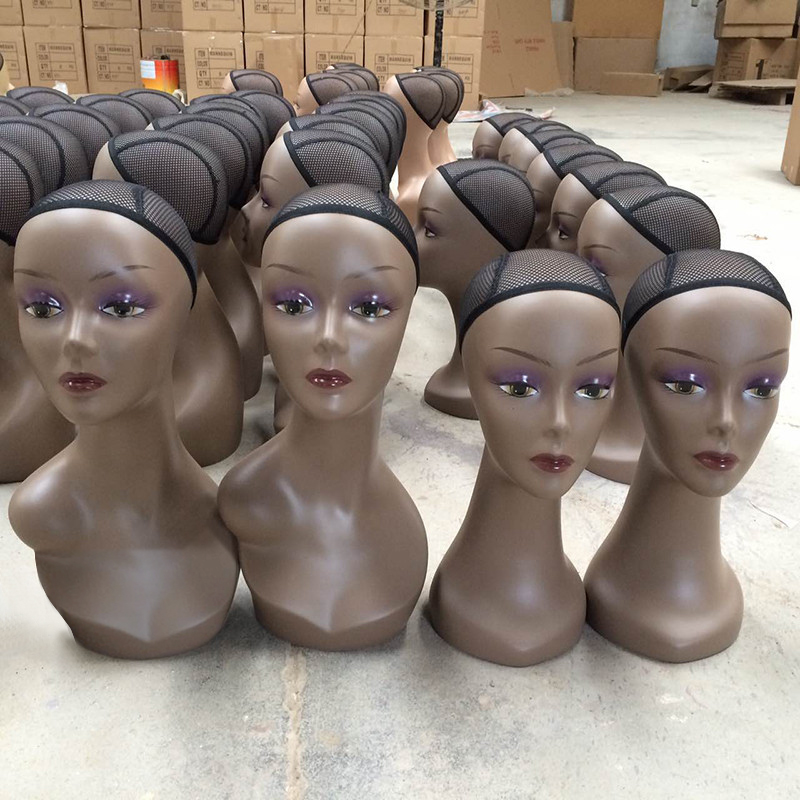 Realistic Europe and America Female Mannequin Manikin Head 47cm Black Hair/Wig/Diomand Display Mannequin Head