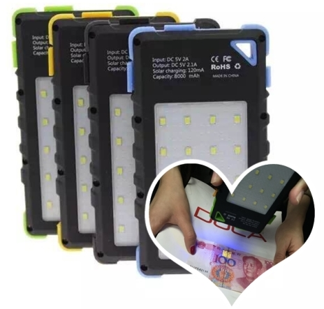 8000mAh Solar Power Bank with Camping 20 LED Light