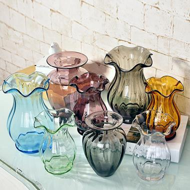 Hand Made Machine Made Rope Decorate Clear Colorful Glass Vase