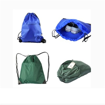 2017 Waterproof Polyester Sports Drawstring Backpack With Outer Pocket