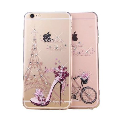 For Apple IPhone 6 6s Girl Style Bling Diamond Rhinestone 3D PC Clear Mobile Phone Case