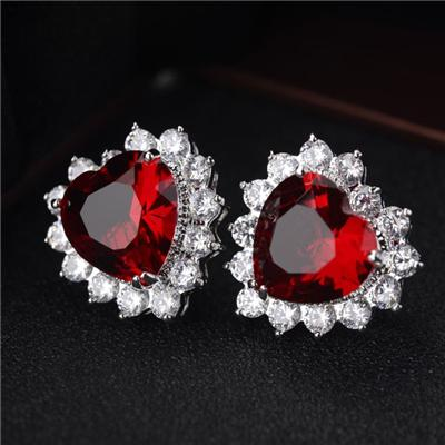 Colorful Zirconia Heart Stud Earrings