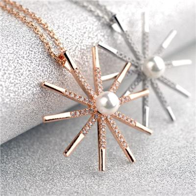 Pearl With AAA CZ Snowflake Pendant Necklace