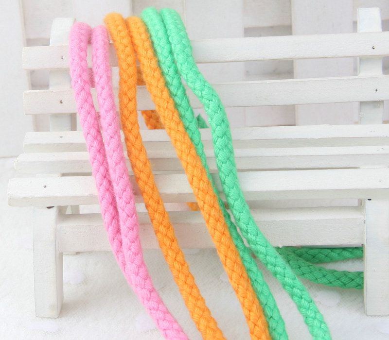 Wholesale Braided Colored Cotton Rope for garment accessory drawstring cord