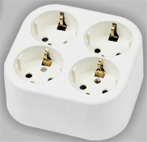 4 way schuko socket surface type PC material