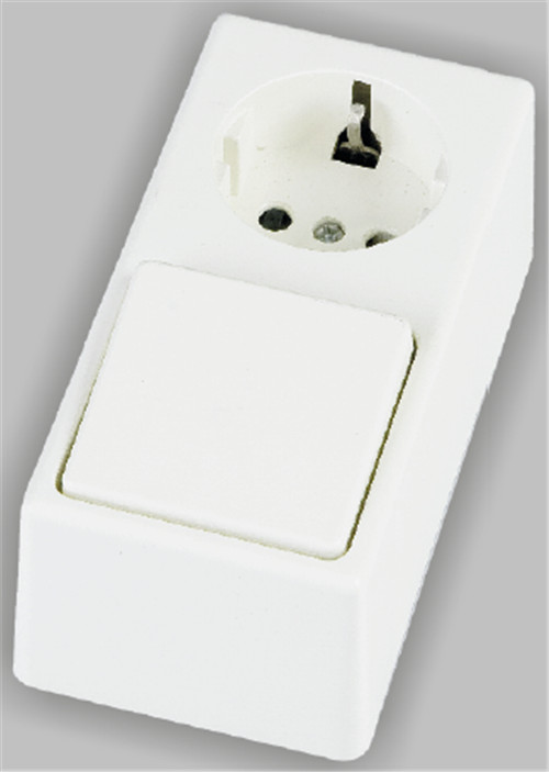 Surface type schuko socket with switch