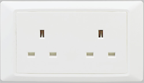 Flush type double unswitched socket,Double british socket