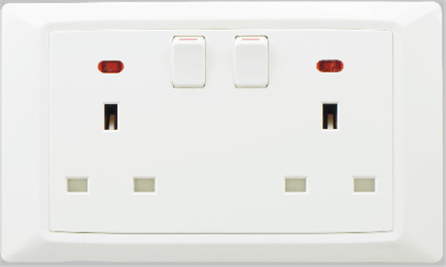 Flush type british standard double 2 gang switched socket with neon