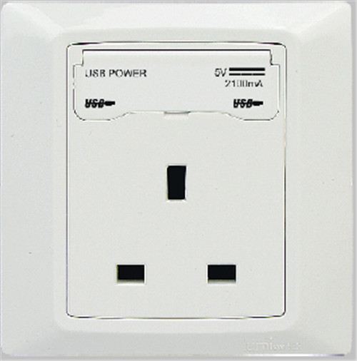 Dual USB outlet with british standard socket
