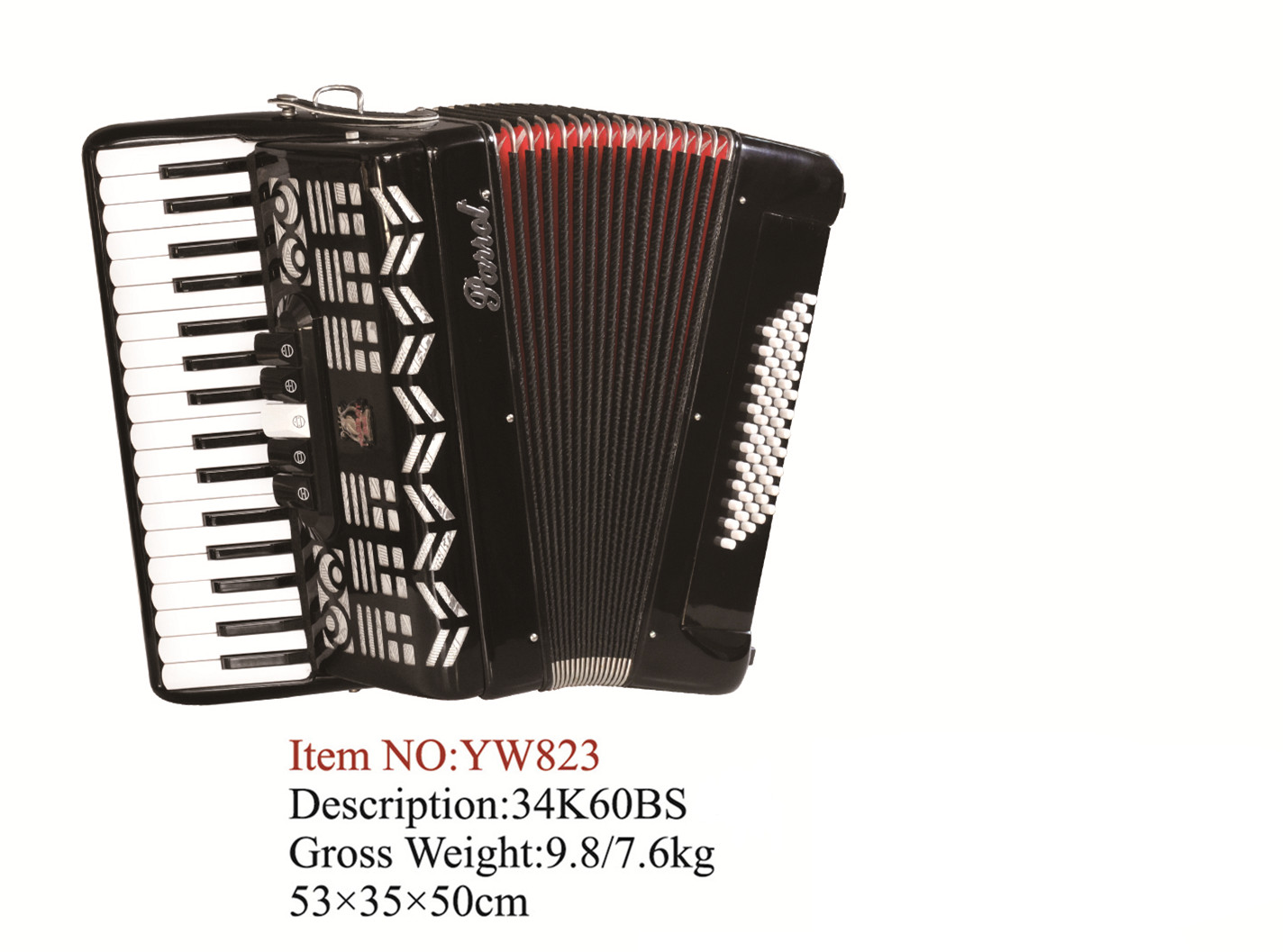 Parrot 34 Keys 60 Bass Piano Accordion With Case And Straps