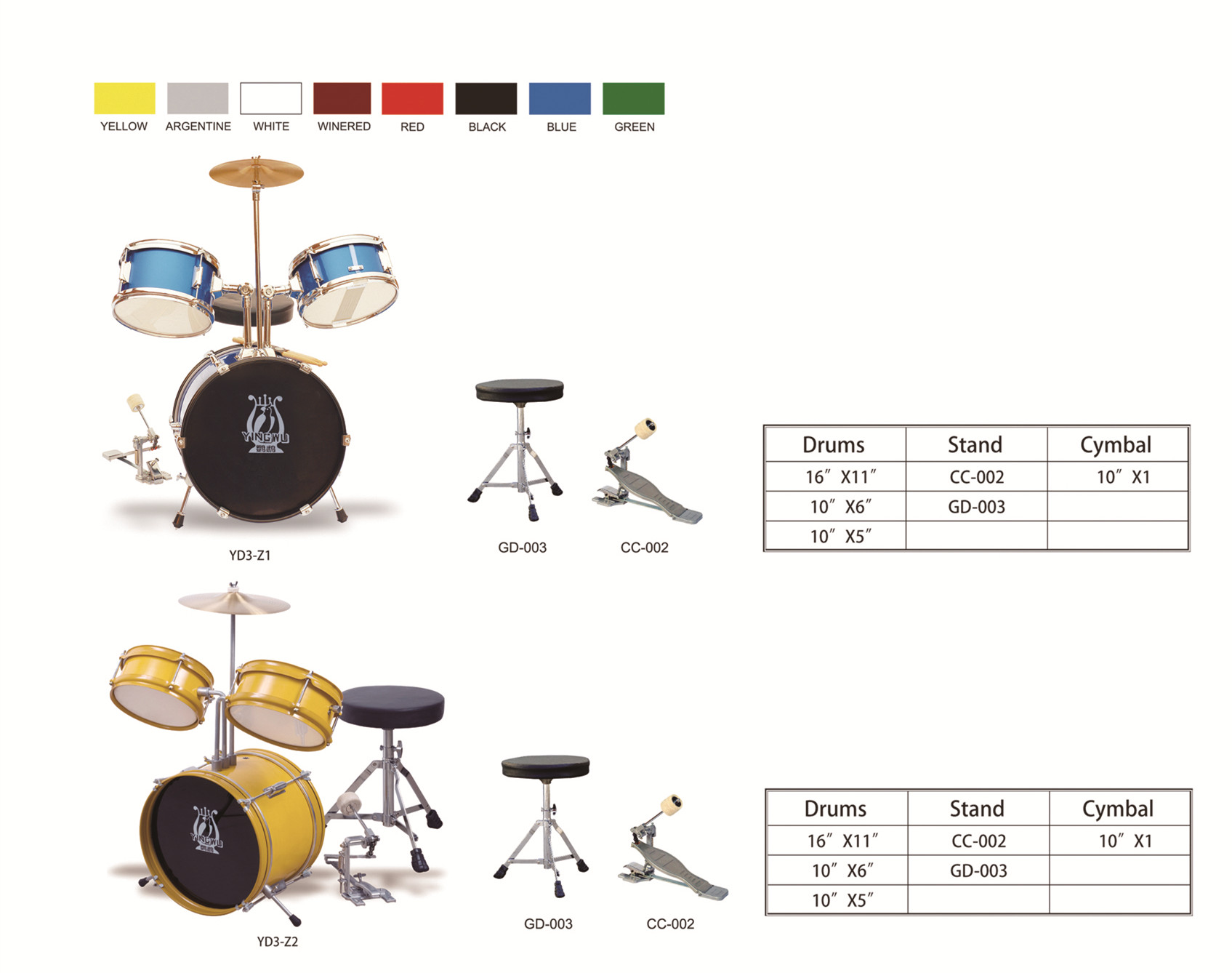 Full Size Adult kid 3 Piece Drum Set