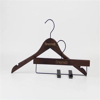 antique brown save space wood flat clothes hanger