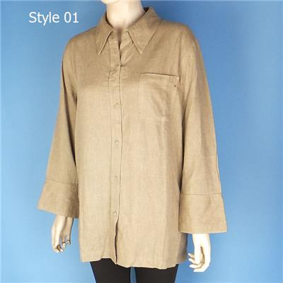 Linen Tops Blouses Dress Shirts Clearance for Women Khaki Color Made in China