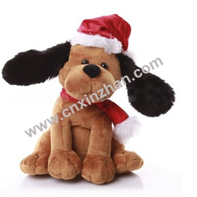 Christmas Plush Dog Soft Toys Gifts Brown Yellow White Colors With Cap, Clothes On Sale