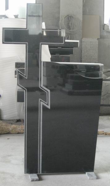 Best price China black granite corrugated tombstone