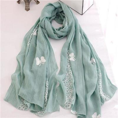 Latest Style Pure Color Flower And Butterfly Embroidered Womens Wraps