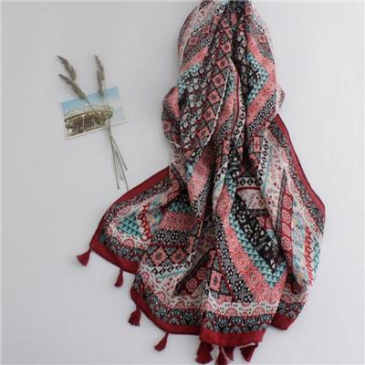 Burgundy With Tassels Woven Womens Scarves