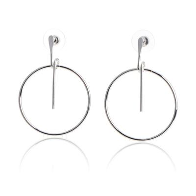 Minimalist Women Silver Hollow Big Circle Round Strips Earrings
