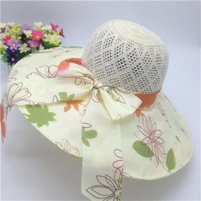 Beautiful Flower Print Overlay Brim Polyester Sun& Beach Hats For Ladies