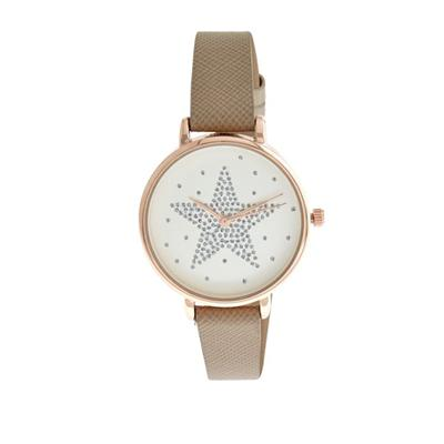 Rhinestone Star Design Dial Plate Watch  Textured Leather Band Gold-Tone Frame Wristwatch