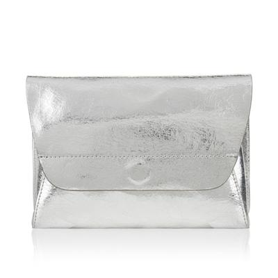 Women's Real Leather Silver Evening Clutch Bag For Party with A Magnetic Fastener