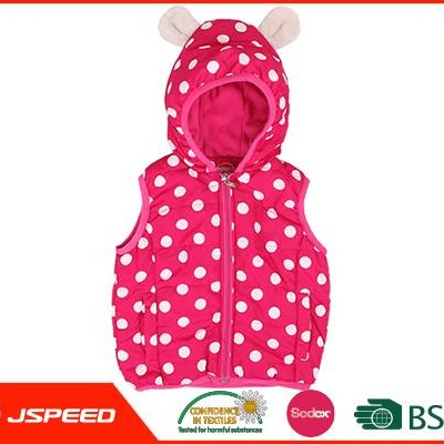 Cute Printed Girls Hooded Quilted Vest In Dots Design