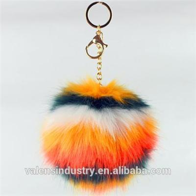 High Quality Custom Flower Shape Fox|Rabbit Fur Pom Pom Ball Keychain Pom Poms Pendant For Woman Cellphone|handbag|Car