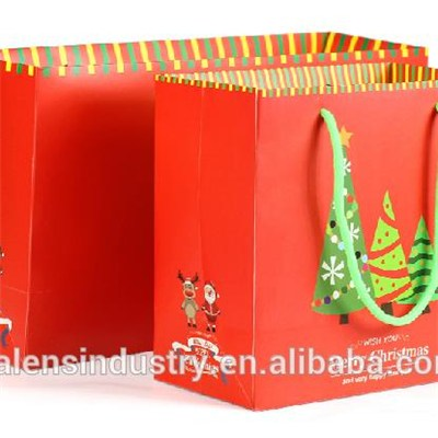 OEM Promotional Wholesale Customized Logo Ideas Design Santa Claus Christmas Fancy Paper Shopping Gift Bag Supply