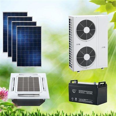 ACDC Hybrid Solar Air Conditioner Cassette Type Space-saving For Hotel