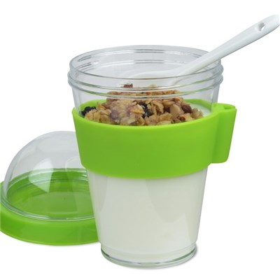 12 Ounce Cold Yogurt Breakfast On The Go With A Spoon And Silicone Holder