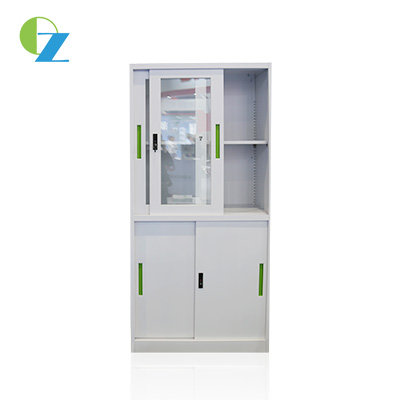 Glass and Metal Sliding Door Metal Cupboard