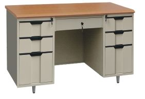 Office Small Staff Desk with Double Pedestal Cabinets