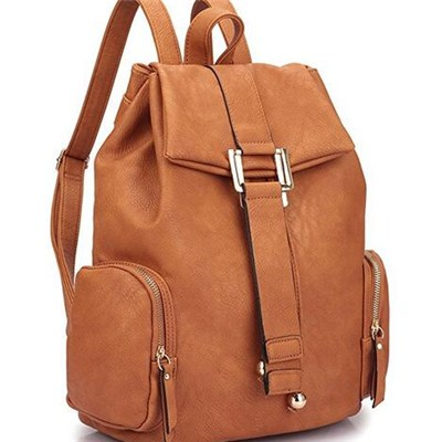 Convertible Lock Function Faux Leather Backpack With Flap
