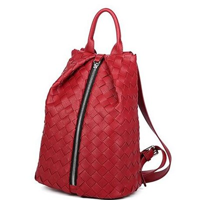 Fashion Zipper Weave Leather Backpack Leisure Daypack Women Shoulder Handbag With Lock Function