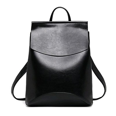 Simple Genuine Flap Backpack In Solid Color