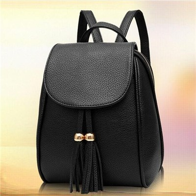 Women Fashion Style Tassel Backpack Side Zipper Around Daypack