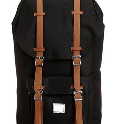 Nylon And Leather Trim Lightweight Black Flap Drawstring Sport Backpack