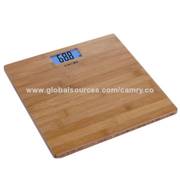 Electronic Personal Scale With Blue Backlight Bamboo Platform