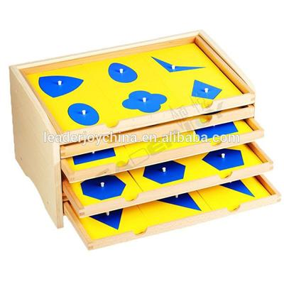Montessori Materials In China Wooden Educational Toys For Geometric Cabinet With 35 Insets