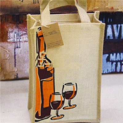 Hot Sale Chinese Factory Supply Die-Cut Handles Cheap Two Bottle Jute Wine Bag