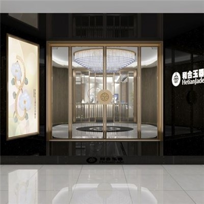 Hetian Jade Brand Shop Design Exhibition Design High-end Brand Creative Jewelry Jewelry Showcase Production Jade Fashion Showcase Design Jinxiang Brand SI Design