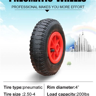 Rubber Casters Pneumatic Wheel 8x 2.50-4