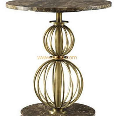Lobby Lounge Furniture Brass Stainless Steel Frame Marble Coffe Table