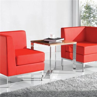 Pu Leather Upholstered Steel Frame Office Reception Waiting Chair