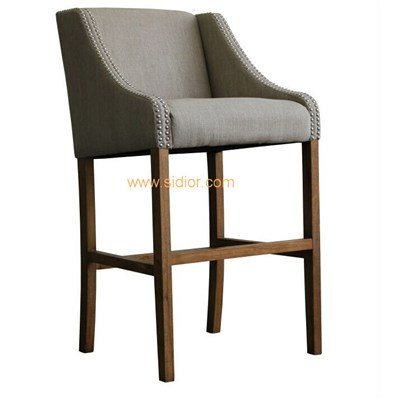 Custom Made Wood Frame Fabric Bar Stool