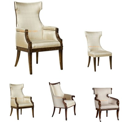 Classic Style Hotel Wooden Frame Fabric Dining Chair For Sale