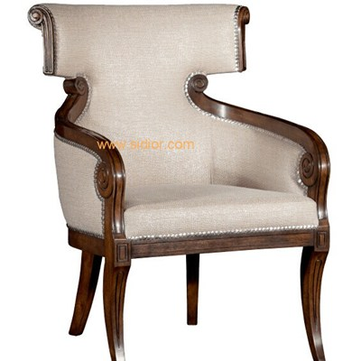 Hotel Antique Wood Arm Fabric Dining Chair