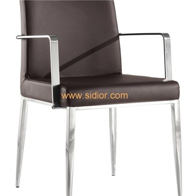 Chromed Steel Arm And Four Legs Pu Leather Upholstered Arm Chair